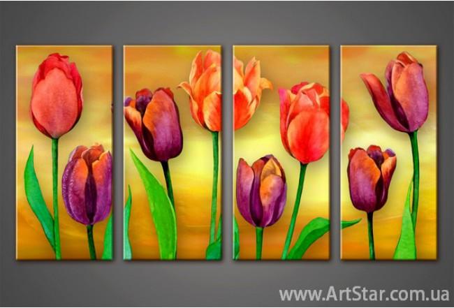 Модульная картина Тюльпаны(4)