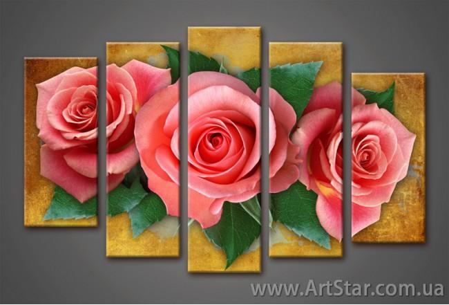 Модульная картина, Роза красная