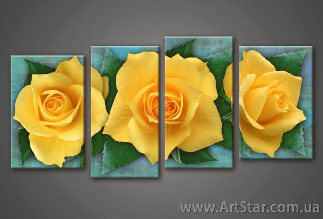 Желтая Роза, Картина Модульная