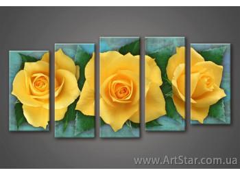 Модульная картина, Роза Желтая