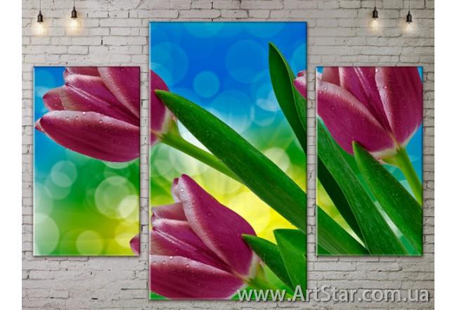 Модульные Картины Цветы, Art. FLOW777069