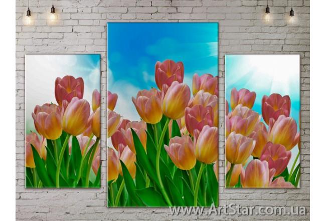 Модульные Картины Цветы, Art. FLOW777127