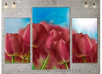 Модульные Картины Цветы, Art. FLOW777145