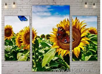 Модульные Картины Цветы, Art. FLOW777187