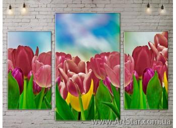 Модульные Картины Цветы, Art. FLOW777189
