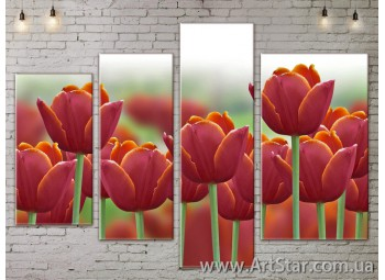 Модульные Картины, Цветы, Art. FLOW777302