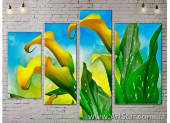 Модульные Картины, Цветы, Art. FLOW777340