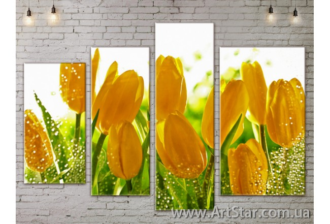 Модульные Картины, Цветы, Art. FLOW777346