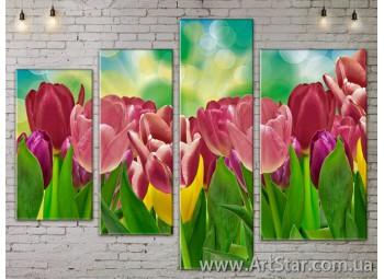Модульные Картины, Цветы, Art. FLOW777350