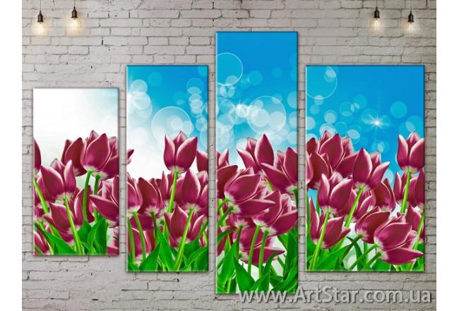 Модульные Картины, Цветы, Art. FLOW777388