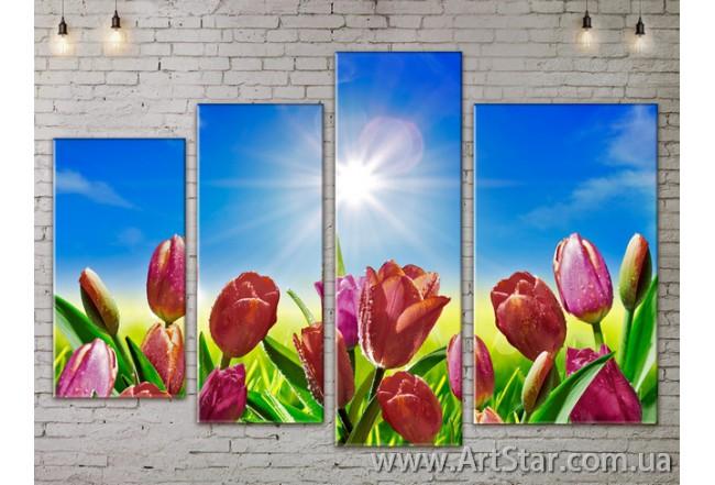 Модульные Картины, Цветы, Art. FLOW777404