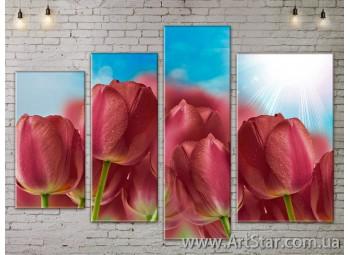 Модульные Картины, Цветы, Art. FLOW777428