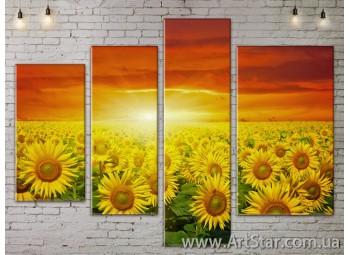 Модульные Картины, Цветы, Art. FLOW777430