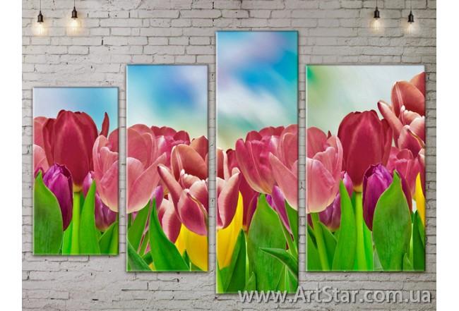 Модульные Картины, Цветы, Art. FLOW777472