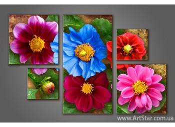 Модульная картина Цветы (5) 2