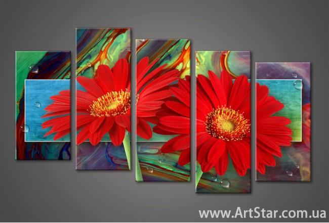 Модульная картина Цветы Герберы (5) 2