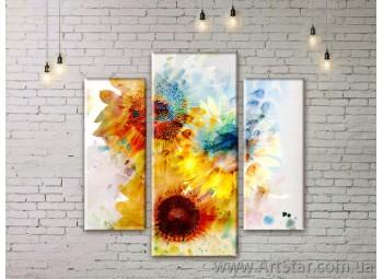 Модульные Картины Цветы, Art. FLWM0121