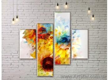 Модульные Картины Цветы, Art. FLWM0123