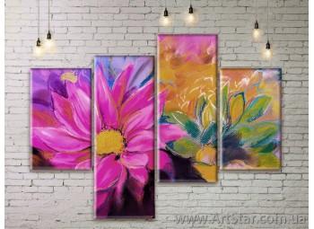 Модульные Картины Цветы, Art. FLWM0319
