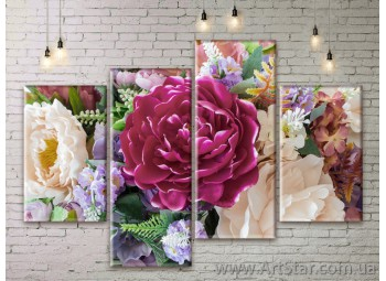 Модульные Картины Цветы, Art. FLWM0377