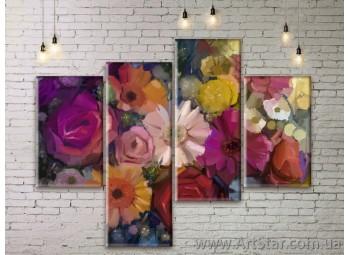 Модульные Картины Цветы, Art. FLWM0383