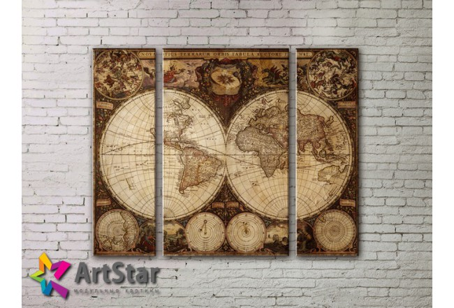 Модульные Картины, древние карты, Art. MAP_0011-3