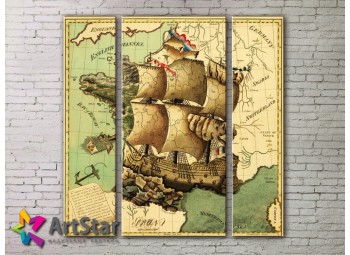 Модульные Картины, древние карты, Art. MAP_0019-3