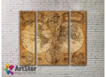 Модульные Картины, древние карты, Art. MAP_0021-3