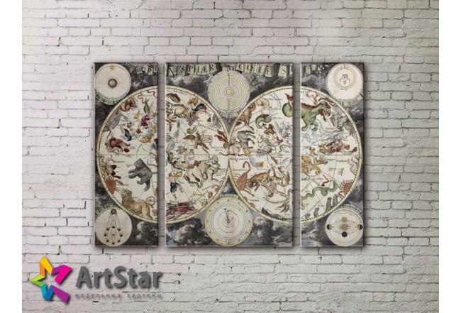Модульные Картины, древние карты, Art. MAP_0029-3
