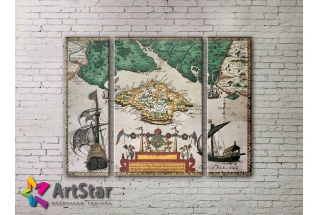 Модульные Картины, древние карты, Art. MAP_0031-3