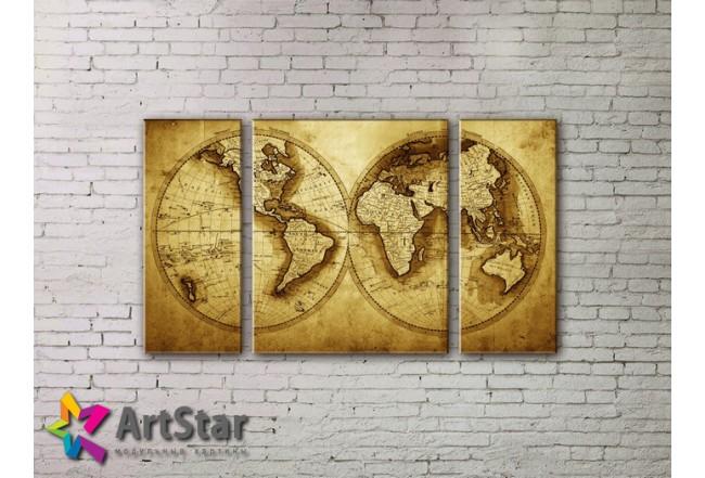 Модульные Картины, древние карты, Art. MAP_0037-3