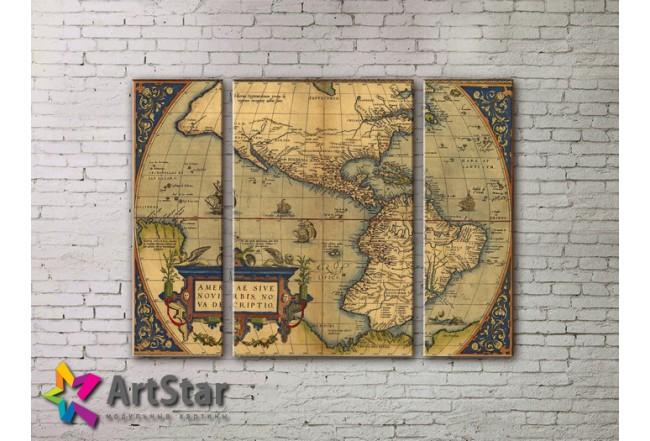 Модульные Картины, древние карты, Art. MAP_0041-3