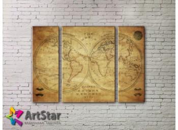Модульные Картины, древние карты, Art. MAP_0043-3