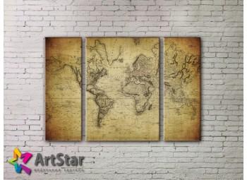 Модульные Картины, древние карты, Art. MAP_0047-3
