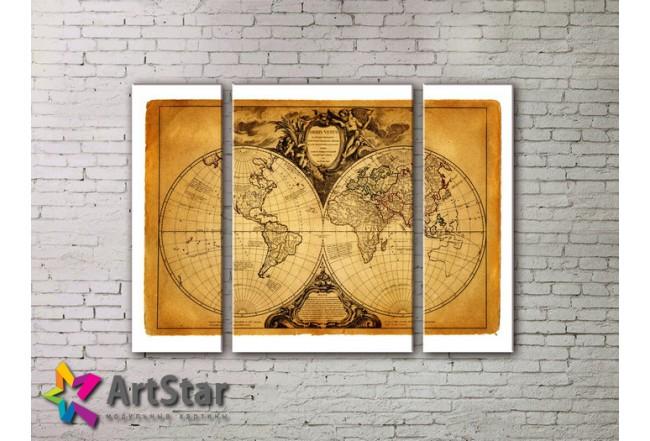 Модульные Картины, древние карты, Art. MAP_0051-3