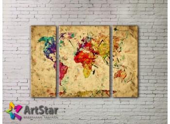 Модульные Картины, древние карты, Art. MAP_0059-3