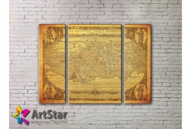 Модульные Картины, древние карты, Art. MAP_0061-3