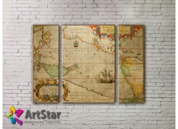 Модульные Картины, древние карты, Art. MAP_0065-3