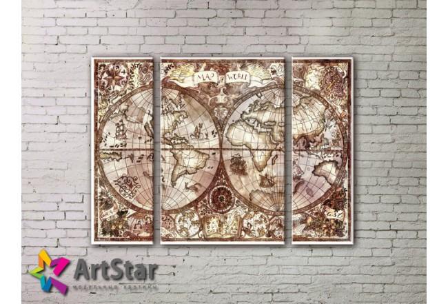 Модульные Картины, древние карты, Art. MAP_0071-3