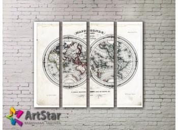 Модульные Картины, старинные карты, Art. MAP0001-4