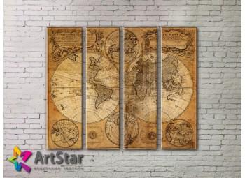 Модульные Картины, старинные карты, Art. MAP0021-4