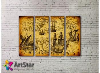 Модульные Картины, старинные карты, Art. MAP0025-4