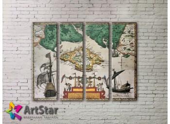Модульные Картины, старинные карты, Art. MAP0031-4