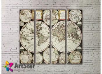 Модульные Картины, старинные карты, Art. MAP0035-4