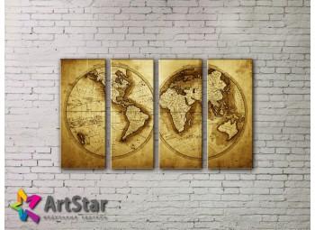 Модульные Картины, старинные карты, Art. MAP0037-4