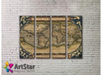 Модульные Картины, старинные карты, Art. MAP0039-4