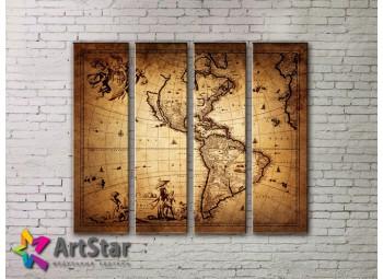 Модульные Картины, старинные карты, Art. MAP0053-4