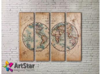 Модульные Картины, старинные карты, Art. MAP0055-4