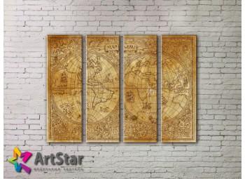 Модульные Картины, старинные карты, Art. MAP0068-4