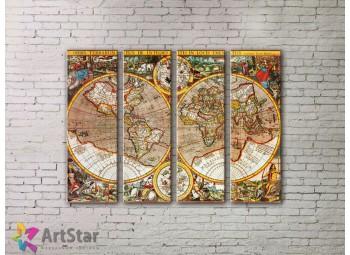 Модульные Картины, старинные карты, Art. MPP778098